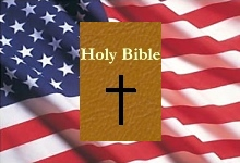 Flag               and Bible representing the United States in Bible               Prophecy